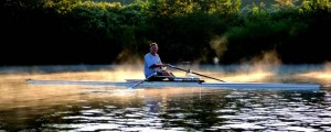 Les Pritchard of Parkersburg's Ohio Valley Rowing Club enjoys an early-morning solo sculling trip.